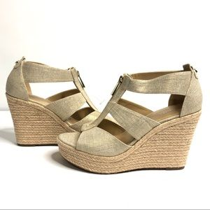Michael Kors Damita Wedge Gold Sandals Heels